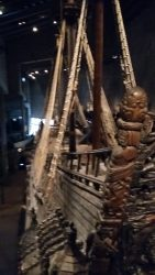 Warship inside Vasa Museum in Stockholm