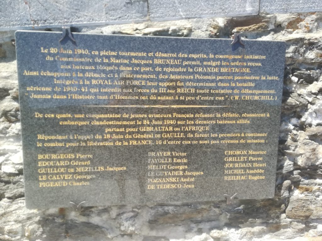 Plaque remembering the blockade of Port Vendres in 1941