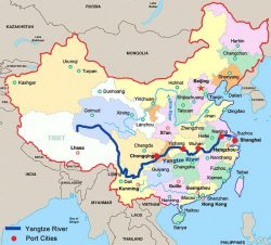 Map of China including the Yangtze River